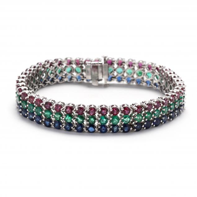 white-gold-and-multi-gemstone-bracelet