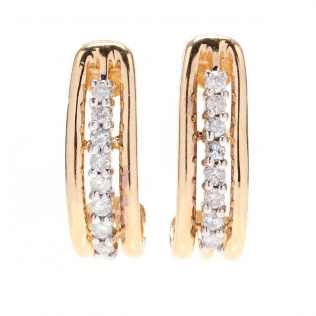 14kt-gold-and-diamond-half-hoop-earrings