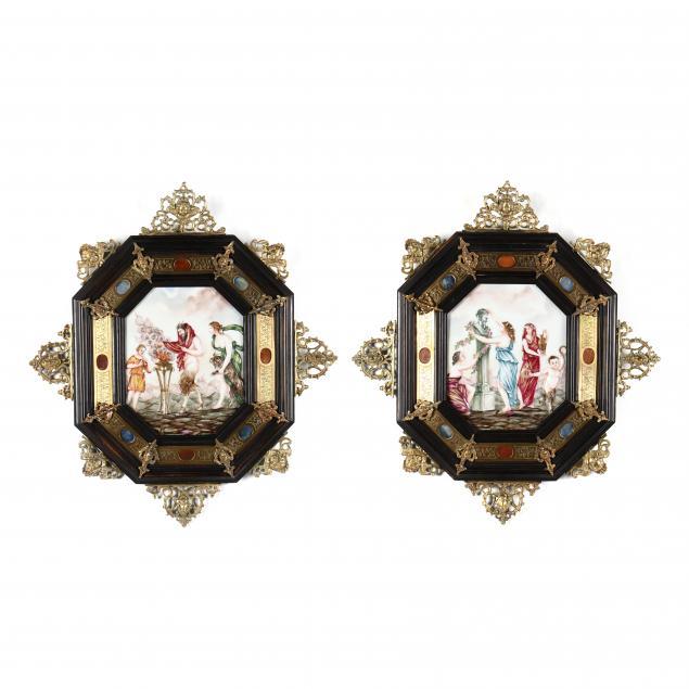 antique-pair-of-capodimonte-wall-plaques