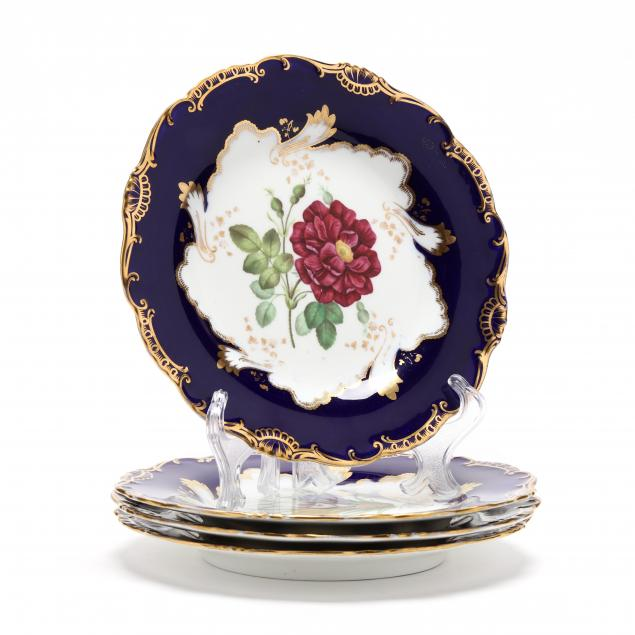 set-of-antique-continental-dessert-plates
