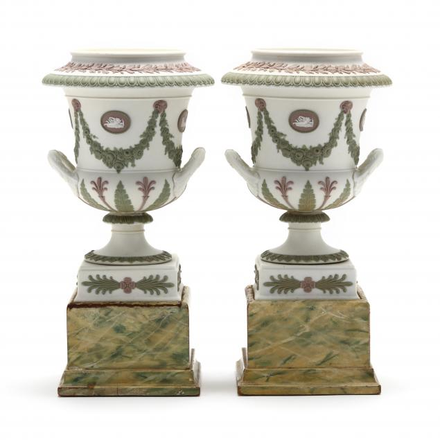 pair-of-wedgwood-tri-color-urns-on-stands