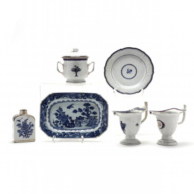 a-selection-of-six-chinese-export-blue-and-white-porcelains