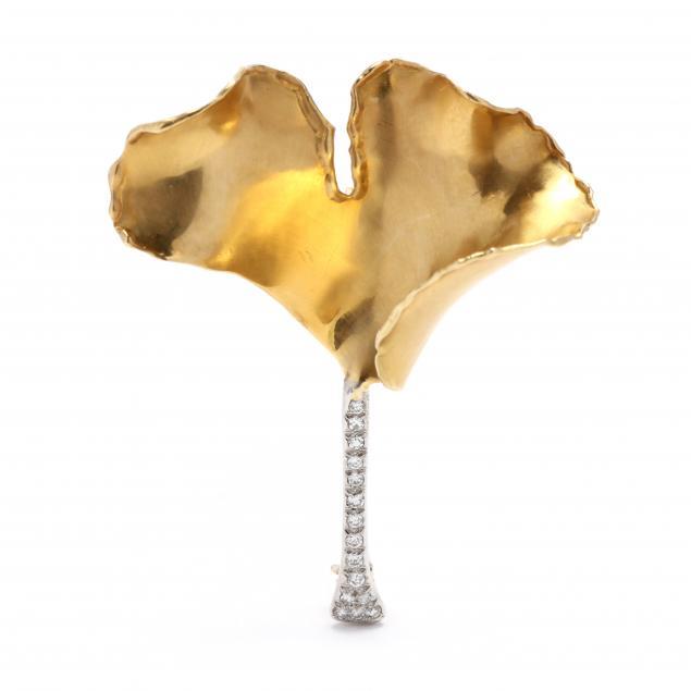 18kt-gold-and-platinum-i-ginkgo-i-brooch-tiffany-co