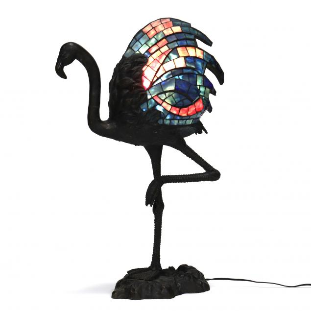 sculptural-bronze-and-stained-glass-flamingo-lamp