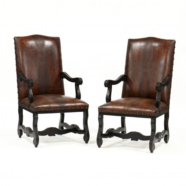pair-of-contemporary-spanish-style-upholstered-hall-chairs