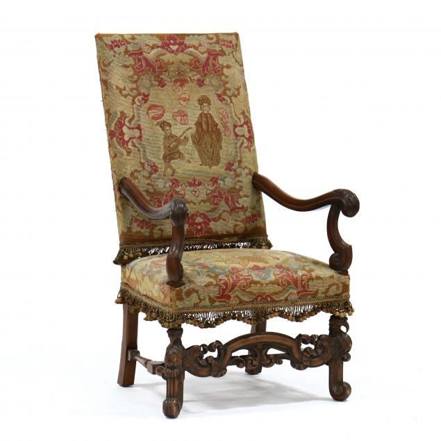 spanish-style-carved-walnut-and-needlepoint-hall-chair
