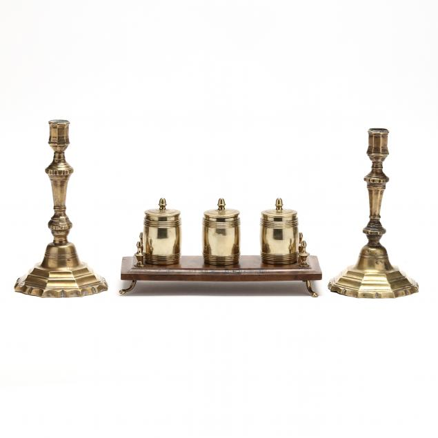 antique-english-brass-candlesticks-and-standish