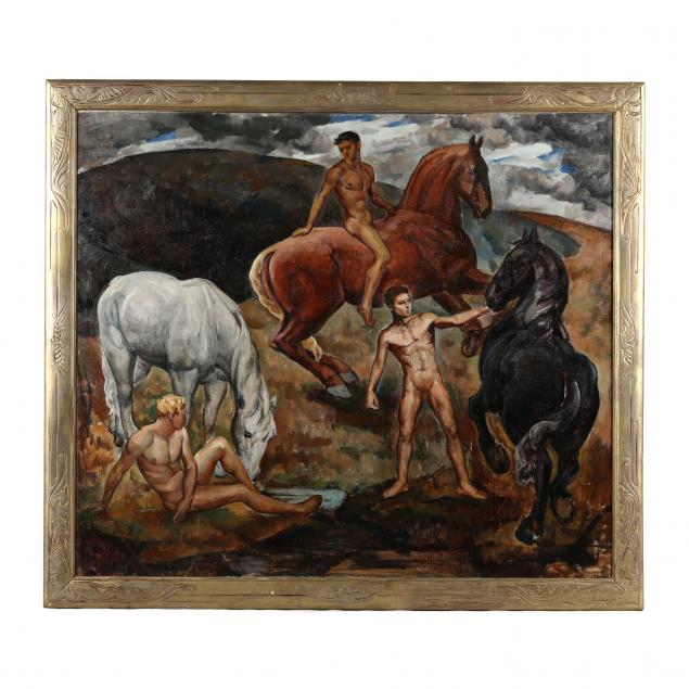 kenneth-earl-bates-american-1895-1973-young-men-with-horses