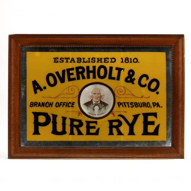 a-rare-antique-reverse-glass-overholt-rye-advertising-sign
