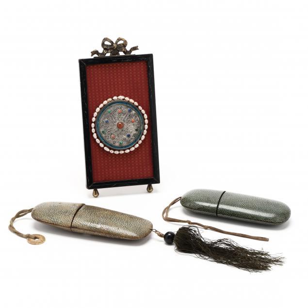 two-shagreen-eyeglass-cases-and-framed-medallion
