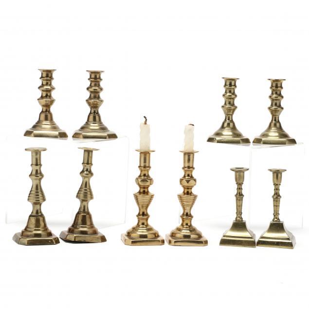ten-miniature-brass-candlesticks