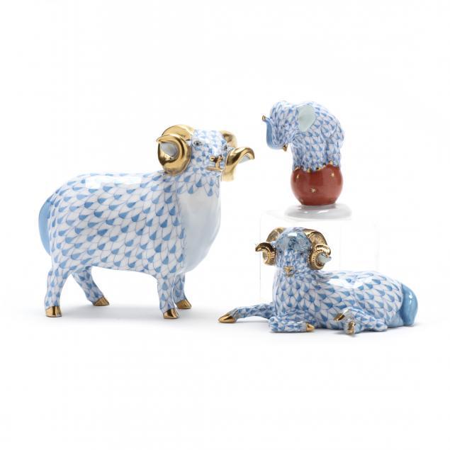 three-herend-porcelain-blue-fishnet-animals