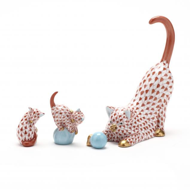 three-herend-porcelain-rust-fishnet-cats
