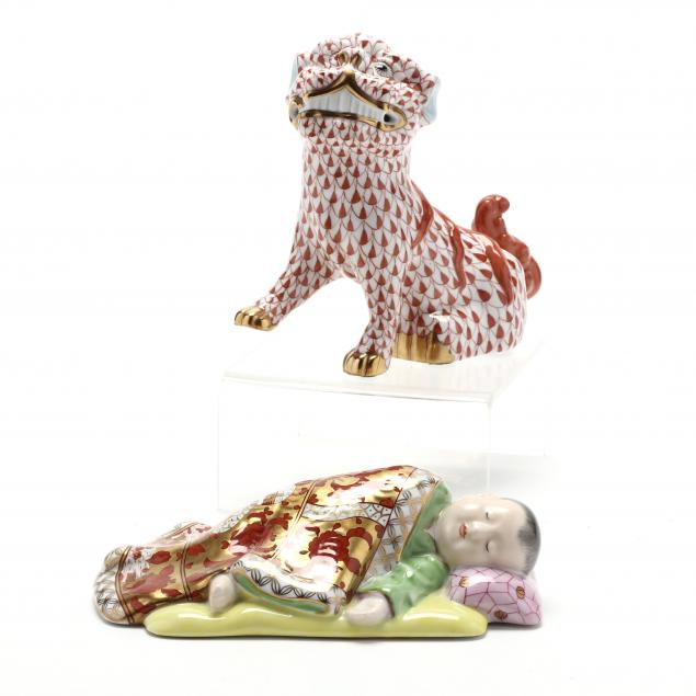 two-herend-porcelain-asian-items-large-foo-dog-and-sleeping-child