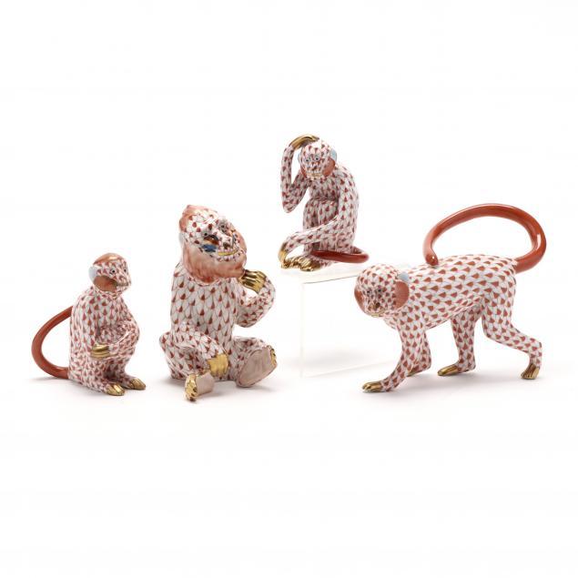 four-herend-porcelain-simians