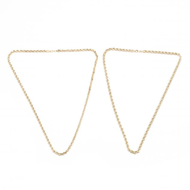 two-10kt-gold-rope-twist-necklaces