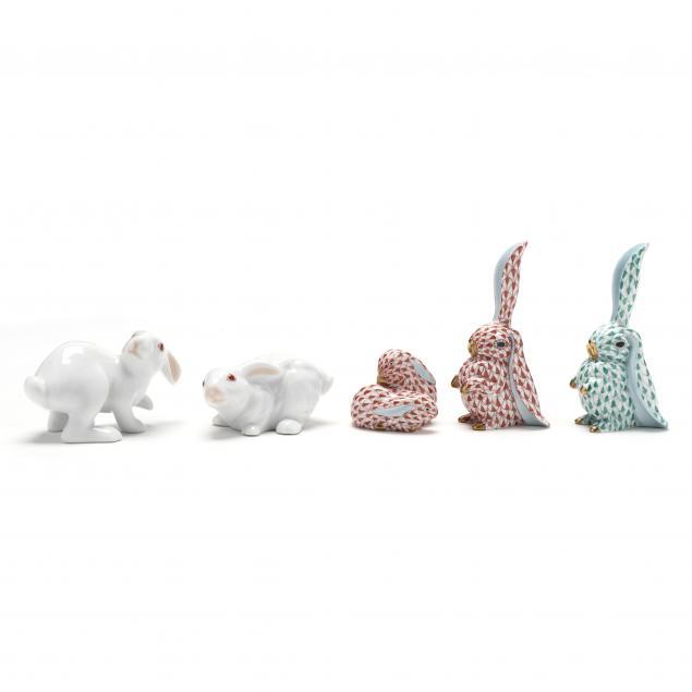 five-herend-porcelain-rabbits