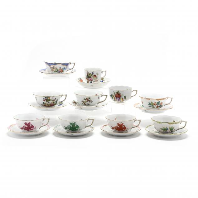 a-selection-of-ten-herend-cup-and-saucer-sets