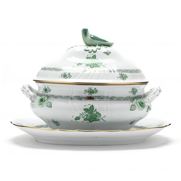 herend-tureen-and-under-tray-i-chinese-bouquet-green-i