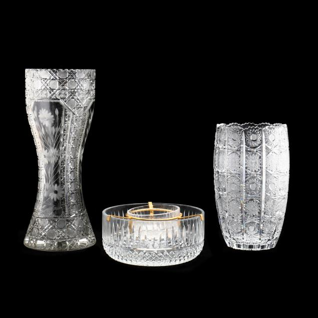 two-cut-crystal-vases-and-caviar-server