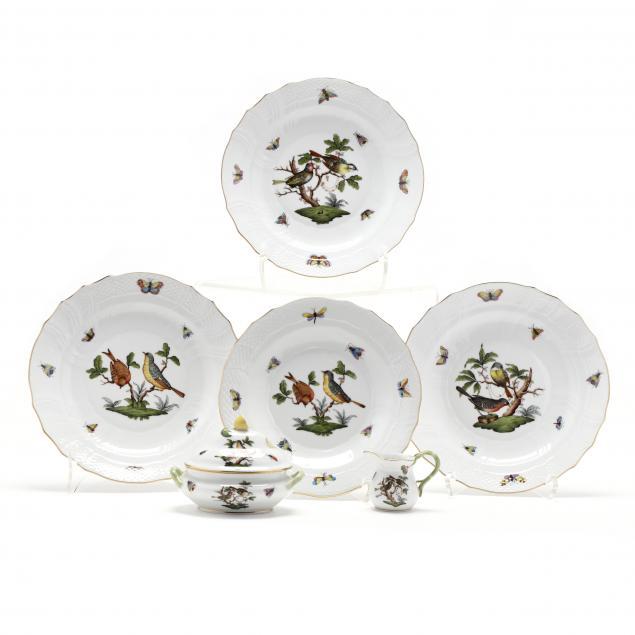 six-herend-porcelain-items-i-rothschild-bird-i-pattern