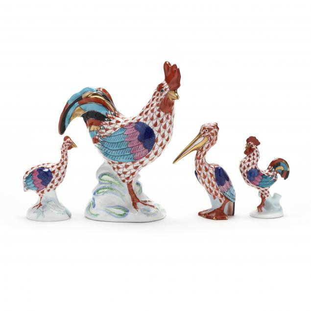four-herend-porcelain-fowl