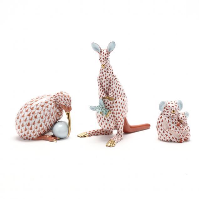 three-herend-animal-figurines-representing-australia