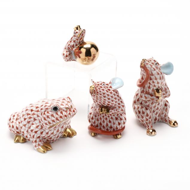 four-herend-porcelain-animals