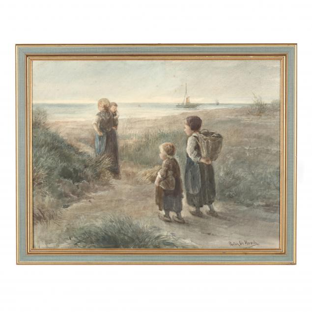 antique-dutch-school-watercolor-of-a-family-fishing