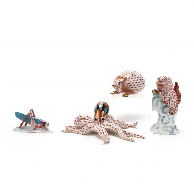 four-herend-porcelain-figurines
