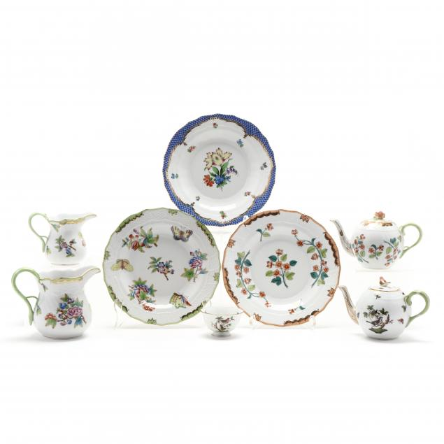 a-group-of-eight-herend-tableware-assorted-patterns