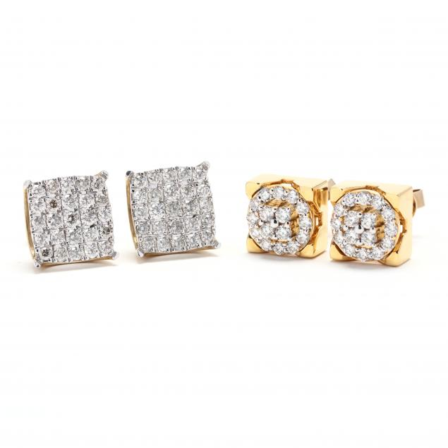 two-pairs-of-10kt-gold-and-diamond-earrings