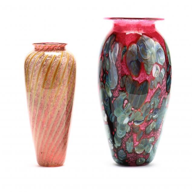 two-handblown-art-glass-vases-signed