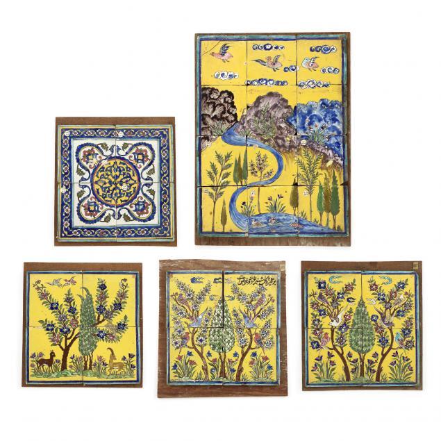 five-vintage-italian-majolica-floor-tile-panels