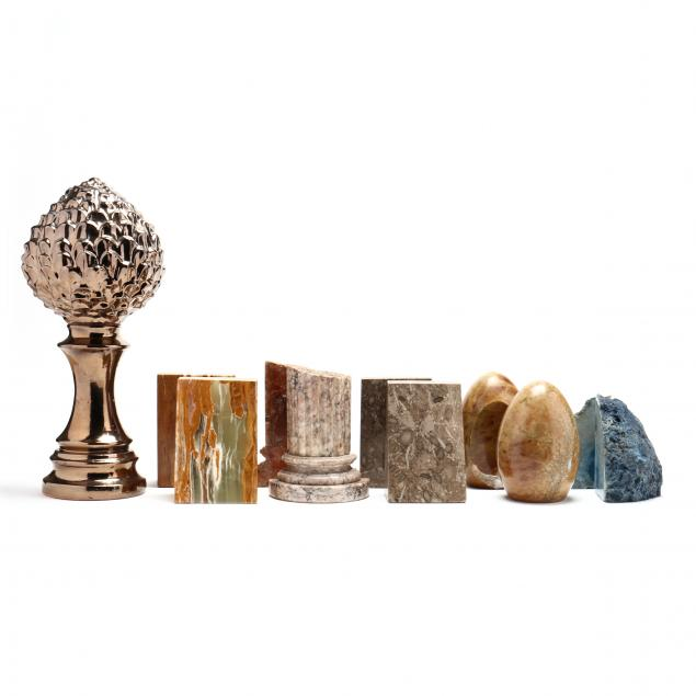 five-pairs-of-stone-bookends-and-ceramic-artichoke