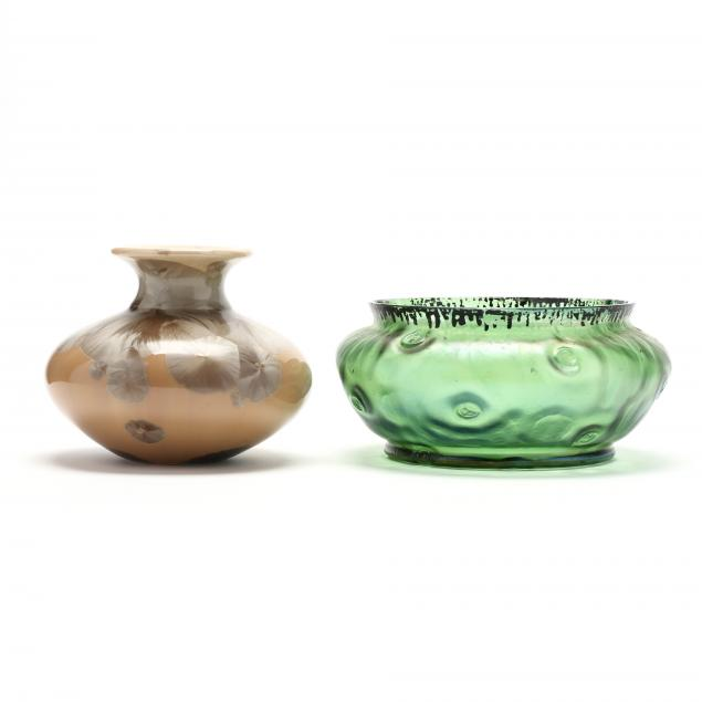 austrian-glass-bowl-and-crystalline-pottery-vase
