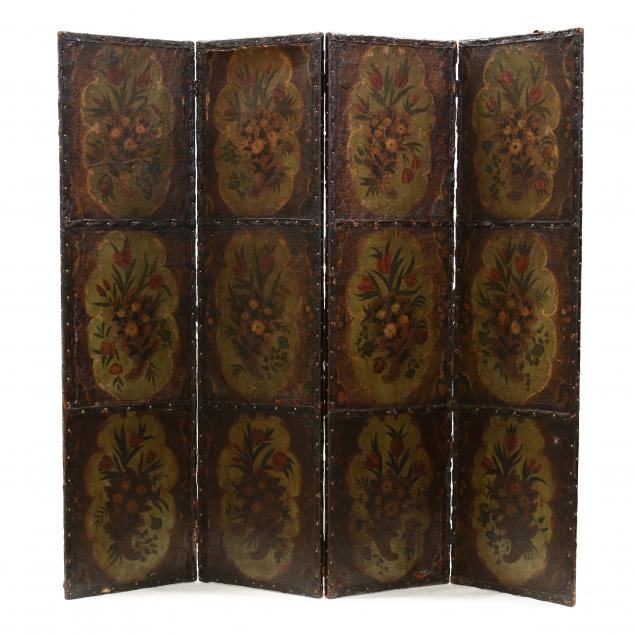 antique-continental-painted-leather-four-panel-floor-screen