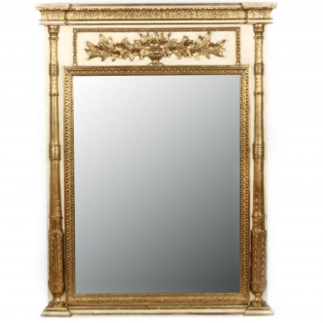 antique-french-painted-and-parcel-gilt-trumeau-mirror