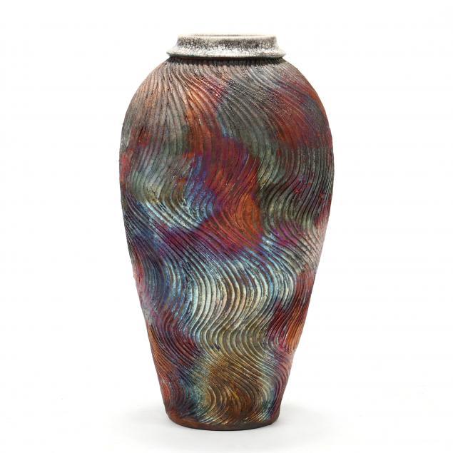 bruce-odell-la-tall-raku-ceramic-art-pottery-vase