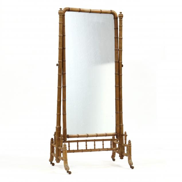antique-continental-faux-bamboo-cheval-mirror