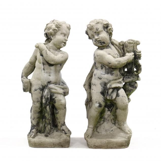 two-cast-stone-garden-putti