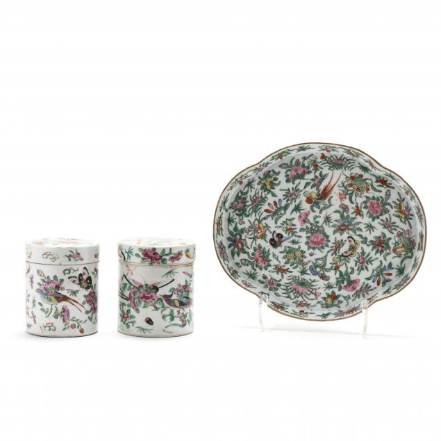 a-chinese-export-porcelain-butterfly-tray-and-two-lidded-jars