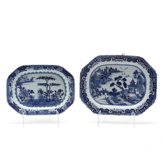 two-chinese-export-porcelain-blue-and-white-serving-platters