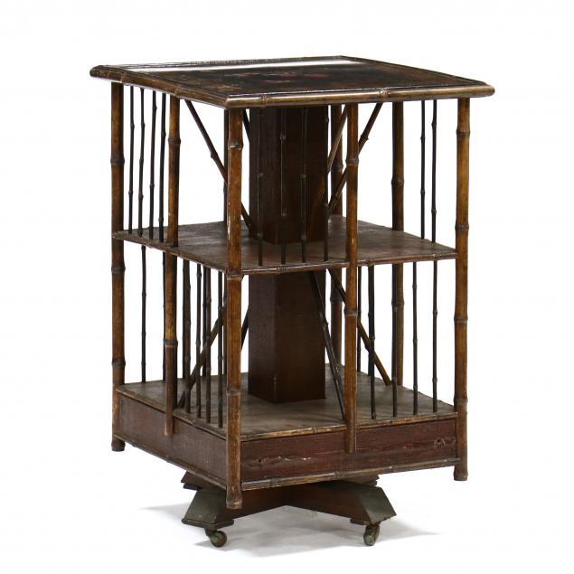 antique-english-burnt-bamboo-rotating-bookshelf
