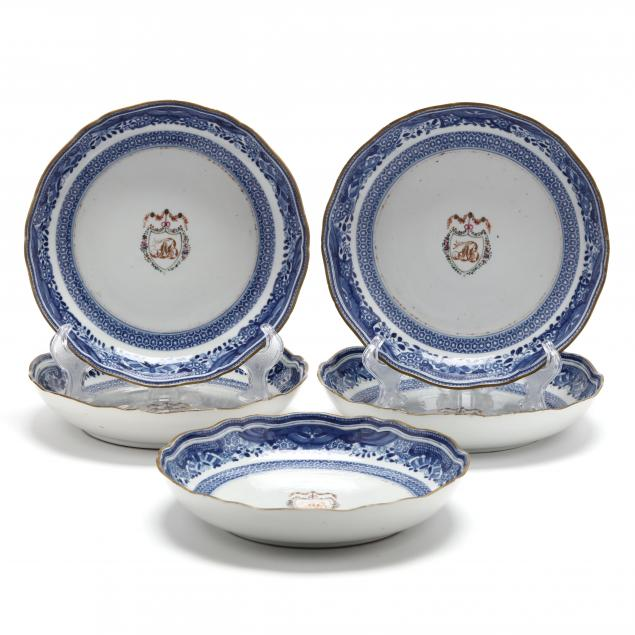 a-set-of-five-chinese-export-porcelain-armorial-crest-bowls