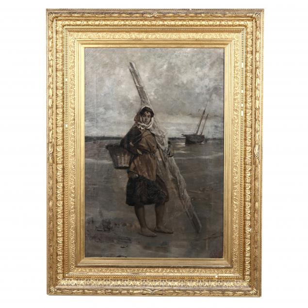 bror-thure-de-thulstrup-swedish-american-1848-1930-grisaille-painting-of-an-oyster-gatherer