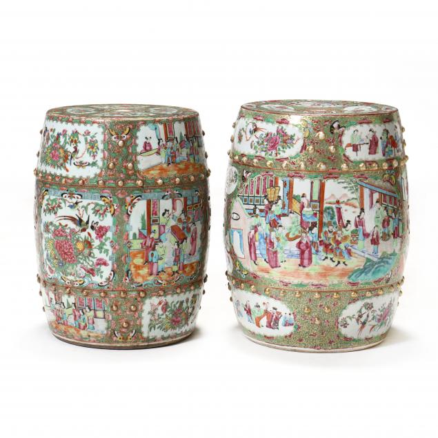 a-near-pair-of-chinese-porcelain-rose-medallion-garden-stools