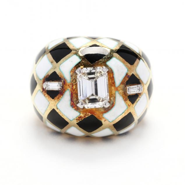 gold-diamond-and-enamel-ring