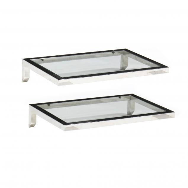 pair-of-chrome-and-glass-floating-tables