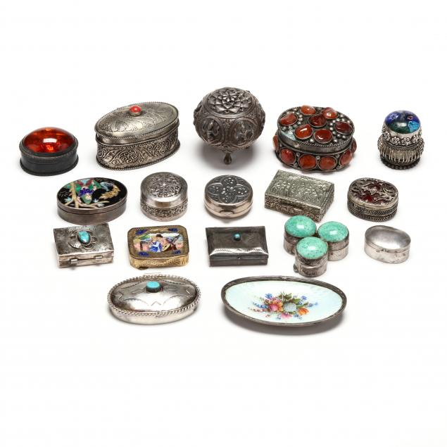 a-collection-of-seventeen-pill-boxes-and-decorative-items